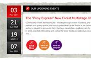 Events calendar - homepage displays upcoming events